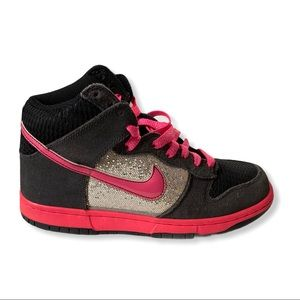 Nike Dunk High Glittery Pink & Charcoal Grey LE